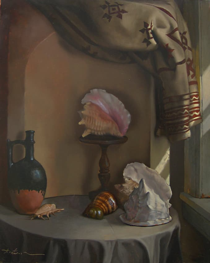Adrian Martinez Shells and Jug in Alcove